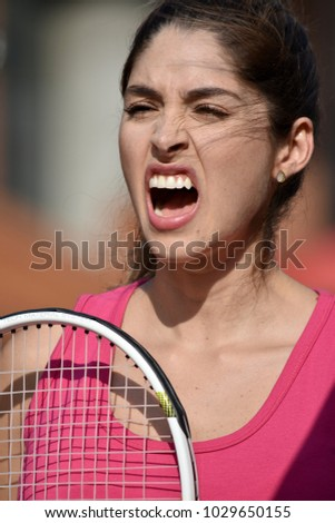 Anxious Girl Tennis Player With Tennis Racket #1029650155