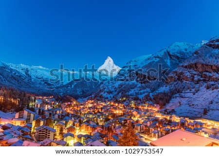 Early Morning landscape View on Zermatt city village  Valley and Matterhorn Peak in the Morning, Switzerland #1029753547