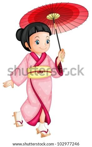 illustration of a japanese geisha #102977246