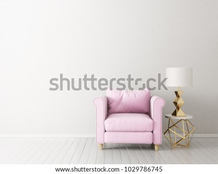 modern living room  with pink armchair and lamp. scandinavian interior design furniture. 3d render illustration #1029786745