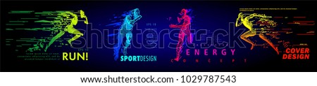 Art concept of a running man. Vector drawn by color lines. Minimal cover design. Creative line-art set. Vector template brochures, flyers, presentations, logo, print, leaflet, banners. Royalty-Free Stock Photo #1029787543