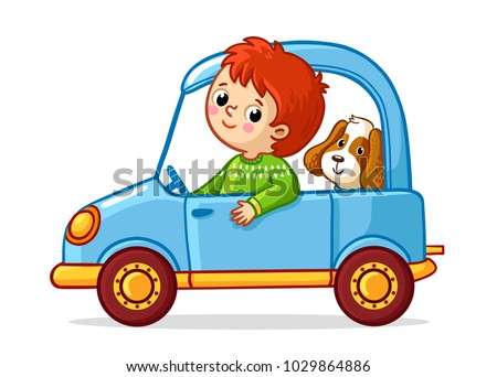 Boy with a dog is riding a blue car. Vector illustration in children`s cartoon style.