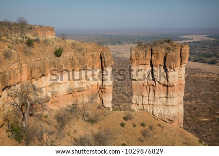 A horizontal, colour image of the Chilojo cliffs, a well-known rock formation in the Gonarezhou National Park, Zimbabwe.