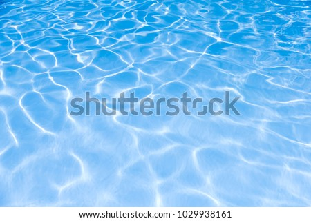 Blue and bright water surface and ripple wave with sun reflection in swimming pool #1029938161