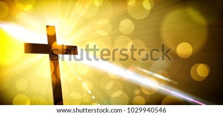 Religious illustration with backlit cross with golden glitter and bokeh on dark background. Horizontal composition #1029940546