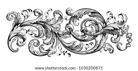 Vintage Baroque Victorian frame border tattoo floral ornament leaf scroll engraved retro flower pattern decorative design tattoo black and white filigree calligraphic vector heraldic swirl Royalty-Free Stock Photo #1030200871