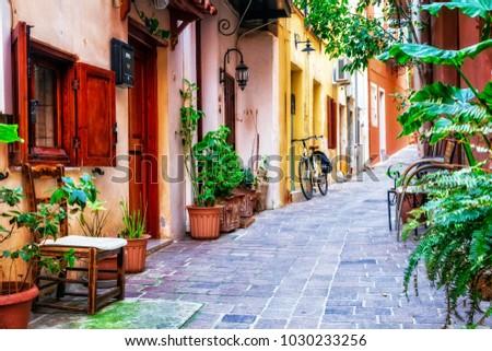 traditioanl colorful narrown streets of Greek town Rethymno, Crete island #1030233256