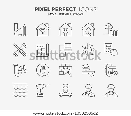 Thin line icons set of renovation, improvement and repair. Outline symbol collection. Editable vector stroke. 64x64 Pixel Perfect. #1030238662