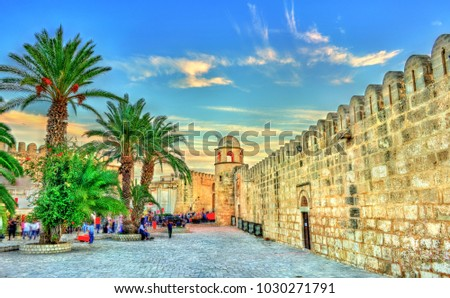 Walls and minaret of the Grand Mosque of Sousse. UNESCO World Heritage Site in Tunisia. #1030271791