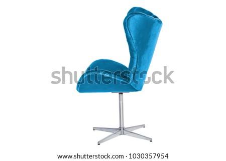 armchair. Modern designer chair on white background. Texture chair. #1030357954