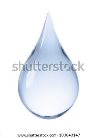 close-up of water drop isolated on white Royalty-Free Stock Photo #103043147