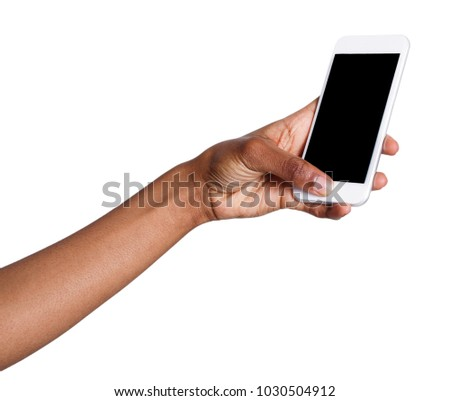 African-american woman taking picture using smartphone. Black hand holding mobile and shooting photo, isolated on white