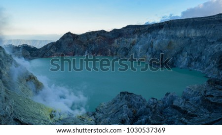 View from Ijen Crater, Sulfur fume at Kawah Ijen, Vocalno in Banyuwangi, East Java, Indenesia.  #1030537369