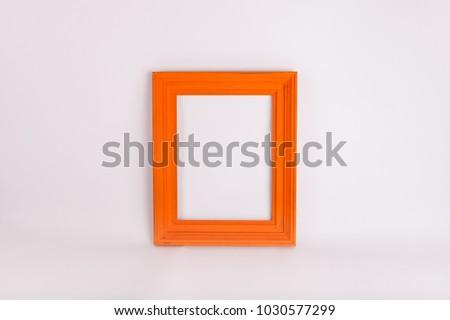 Orange fram or border on white background