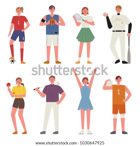 various sports player character. hand drawing style vector illustration flat design