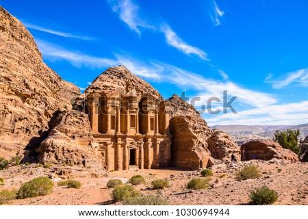 Highlight of Petra, the amazing Ad Deir, The Monastery with blue sky #1030694944