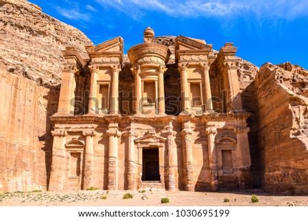 Hidden gem of Petra, the Ad Deir Monastery, Wadi Musa, Jordan, 2018 #1030695199