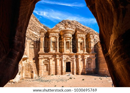 Stunning view of the Ad Deir - Monastery in the ancient city of Petra, Jordan: Incredible UNESCO World Heritage Site. #1030695769