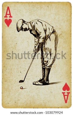 """Sports Aces"" on the ace of hearts, playing card. Vintage processing. Hand drawing. GOLFER"