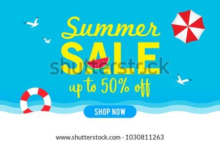Summer sale banner vector illustration, Blue sky with summer beach elements.
