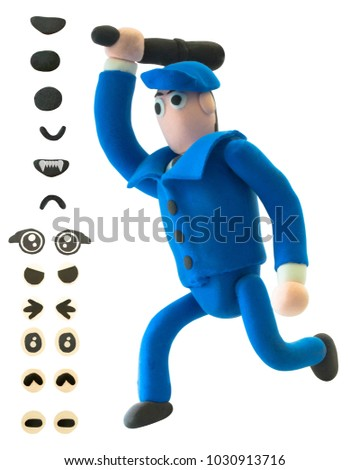 Running Plasticine policeman or officer with eye and mouth on white