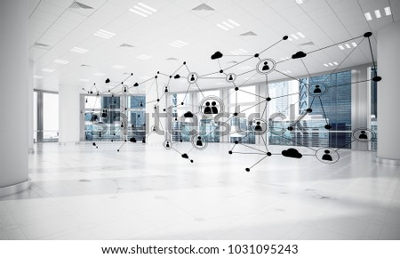 Lines connected with dots as social communication concept in office interior. 3D rendering #1031095243