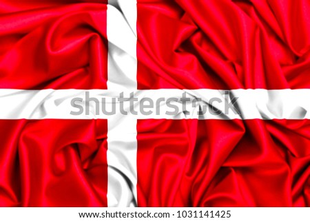 3d flag od Denmark waving in the wind, fabric texture background #1031141425