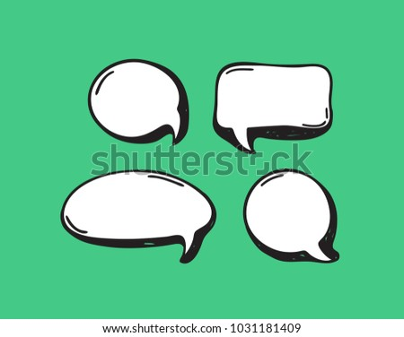 Hand drawn set of speech bubbles. Vector pop art objects. Doodle elements for dialog