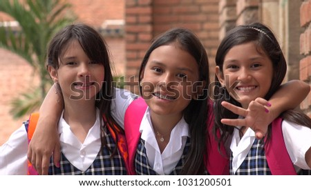 Latina Female Students And Friendship Wearing School Uniforms #1031200501