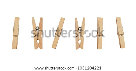 Set of decorative clothespins isolated on white  Royalty-Free Stock Photo #1031204221