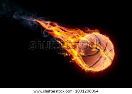 basketball on fire #1031208064
