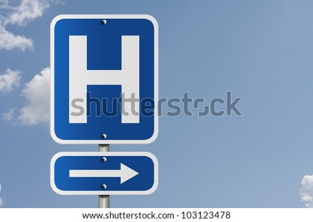 An American road sign with a sky background and a capital H, Hospital Direction Sign