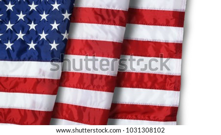 Closeup ruffled American flag isolated on white