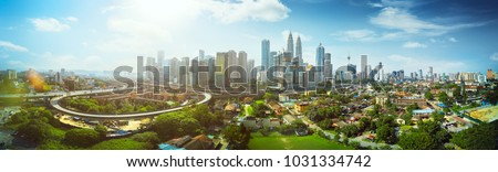 Panorama cityscape view in the middle of Kuala Lumpur city center ,day time , Malaysia . #1031334742