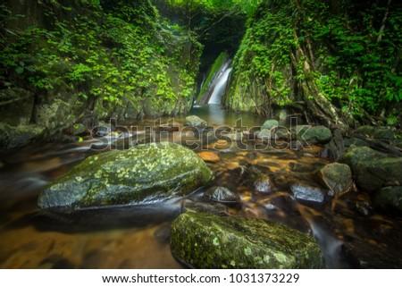 Rainforest, Green waterfalls, Green forest, Kok e Dok waterfalls,Thailand.