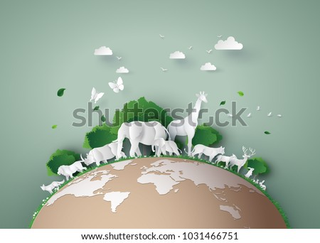 World Wildlife Day with the animal in forest , Paper art and digital craft style. Royalty-Free Stock Photo #1031466751