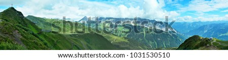 Austrian Alps-panoramic view on the peak Golmer Joch and valley Montafon #1031530510