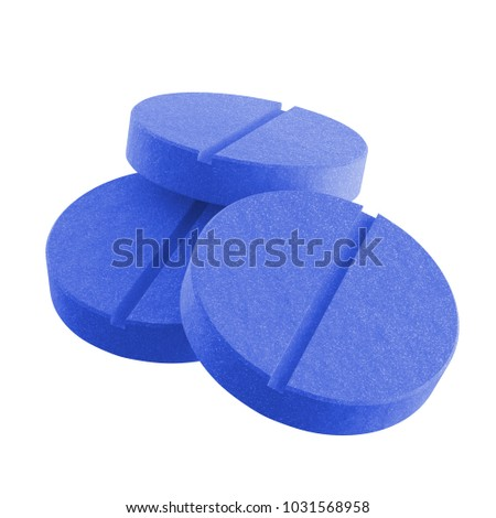 3D realistic render of three blue pills isolated on white background. Clipping path. #1031568958