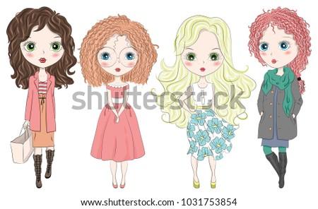 Set of hand drawn beautiful cute fashion girls on white background. Cartoon fashionable girls. Cartoon character. Vector illustration. #1031753854