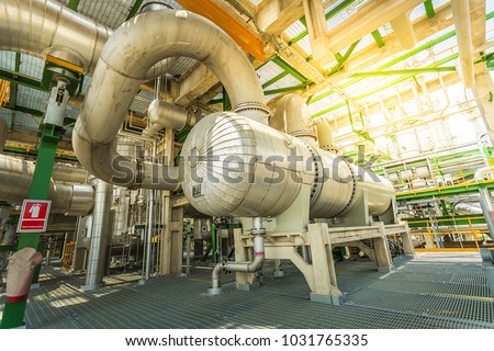 Heat exchanger in process area of petroleum and refinery pant Royalty-Free Stock Photo #1031765335