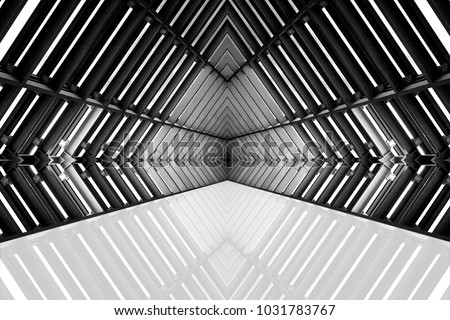 design of architecture metal structure similar to spaceship interior. abstract modern architecture black and white photo. #1031783767