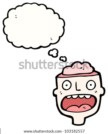 cartoon head with exposed brain