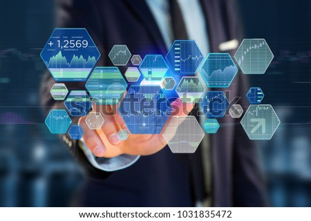 View of a Stock exchange trading data information displayed on a futuristic interface #1031835472