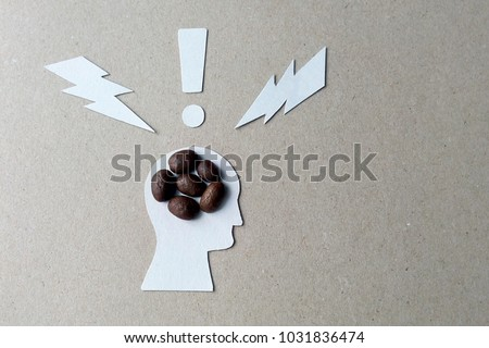 The effects of caffeine on the brain image from coffee beans, cardboard and white paper