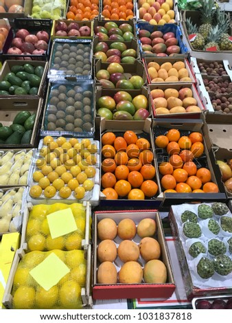 Various fruits on market counter. #1031837818