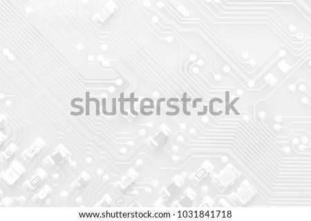 White texture background of printed circuit board. Computer technology background. Information tech. Space for text. Gray scale pcb background. Royalty-Free Stock Photo #1031841718