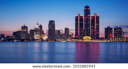 Blue hour of Detroit Skyline from Windsor, Ontario, Canada.  #1031885941
