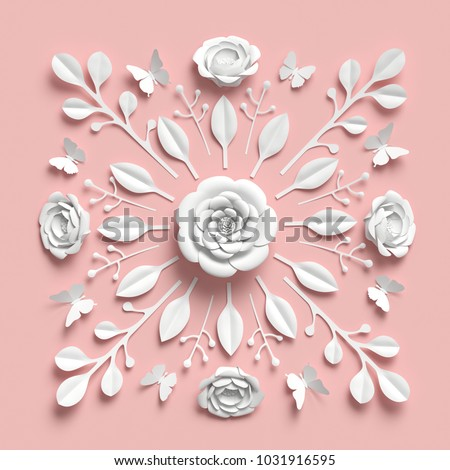 3d rendering, floral kaleidoscope, white paper flowers, symmetrical ornament, pink botanical background, papercraft