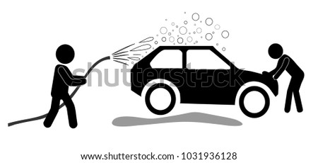 Car Washing Service. Workers with Hose & Soap Cleaning Vehicle. Monochrome Vector Illustration #1031936128
