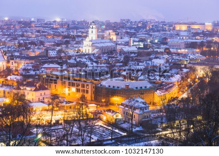 Night city scape of Vilnius on winter in Lithuania. #1032147130